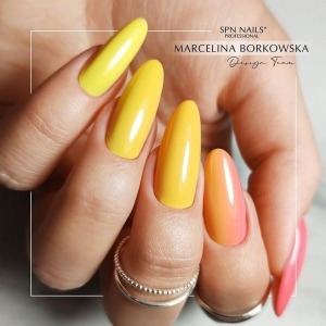 """We hope this sunny #ombrenails will bring us some sunny days soon 🤞☁️ ☀️   In this beautiful #ombre you will find: strong orange """"923 Mangoccino"""", sunny """"924 Banana Shake"""" 💛 and juicy raspberry """"928 KissMe"""" 💗   The colours from the """"Juicy"""" collection are here: https://projectnails.co.uk/245-juicy-collection   #spnnails #projectnailsuk #yellownails #nailsofinstagram #nailsonfleek #nailstagram #uknails #nails2021💕 #ombrenails💅"""