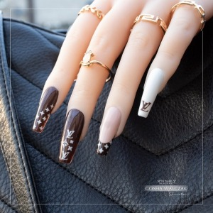 @louisvuitton design, perfect for every occasion 💅  Create those nails with #spnnails products 🔥 #bestnailproducts 😍   ✨Click on the picture and you will be redirected to the product in our store!✨   #projectnailsuk #spnfamily #louisvuitton #louisvuittonnails #uknails #nailfashon #nailfashons #longnails💅 #brownnails #frenchnails #lv #showscratch #nailsoftheday #nailinspo #naildesigns #nails2inspire #nailswag #airbrushstencils #nailsofinstagram